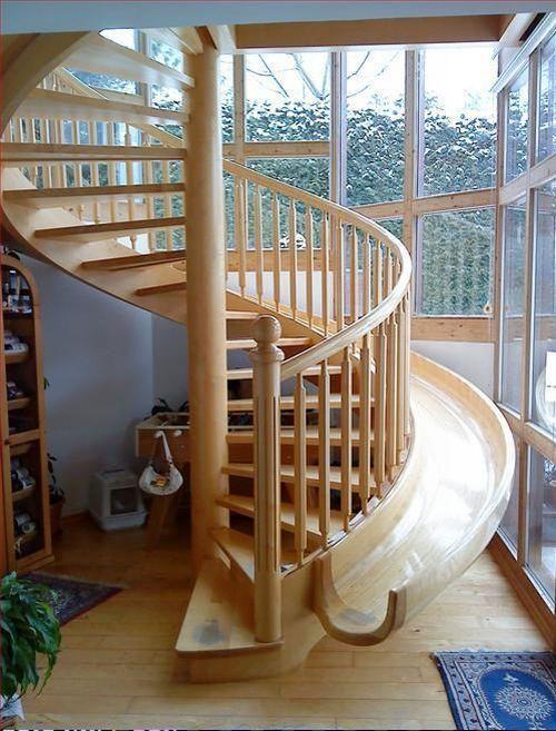 Spiral stairs + slide