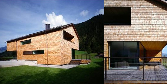 hewn and hammered brown shingle alpenhaus style