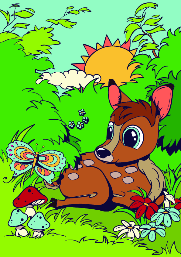 09-Learn-How-to-Draw-a-Deer-Cartoon-Scene-Step-by-Step-Tutorial