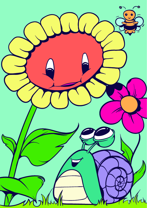 08-Learn-How-to-Draw-a-Sunflower-and-a-Snail-Cartoon-Scene-Step-by-Step-Tutorial